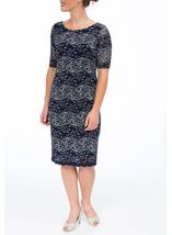 Anna Rose Fitted Corded Lace Short Sleeve Midi Dress Navy/Silver - Gallery Image 2