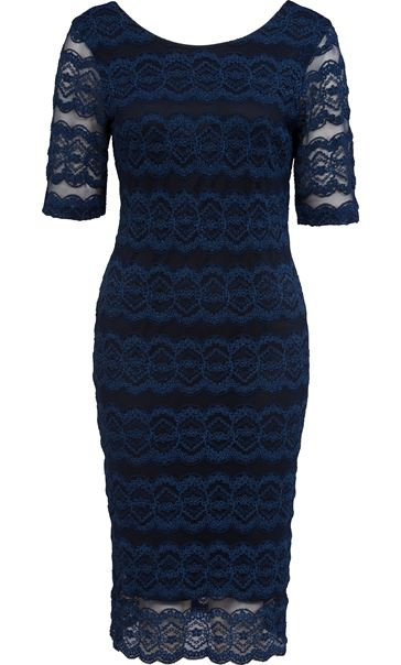 Fitted Lace Midi Dress Navy