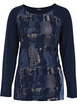 Printed Jersey Mesh Layer Top Navy - Gallery Image 1