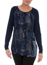 Printed Jersey Mesh Layer Top Navy - Gallery Image 2