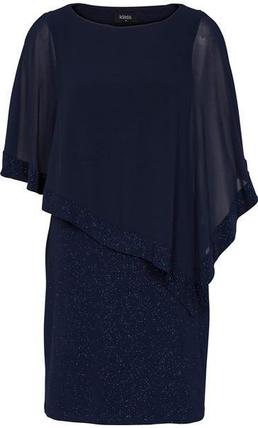 Chiffon Layered Sparkle Midi Dress Midnight