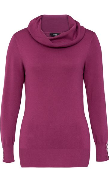Cowl Neck Knit Top Grape