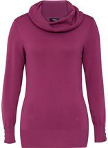Cowl Neck Knit Top Grape - Gallery Image 1