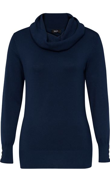 Cowl Neck Knit Top Navy