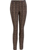 Printed Narrow Leg Trousers Black/Gold - Gallery Image 1