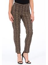 Printed Narrow Leg Trousers Black/Gold - Gallery Image 2