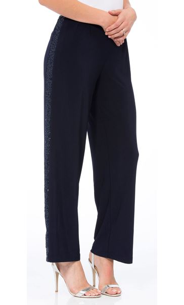 Anna Rose Wide Leg Sequin Panel Trousers Navy