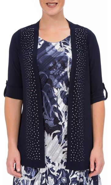 Anna Rose Embellished Open Cover Up Navy