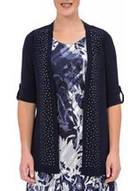 Anna Rose Embellished Open Cover Up Navy - Gallery Image 1