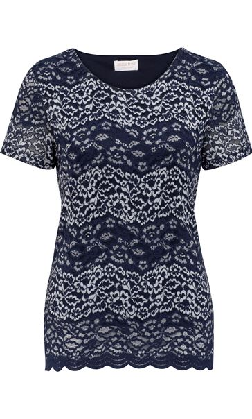 Anna Rose Short Sleeve Corded Lace Top Navy/Silver