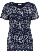 Anna Rose Short Sleeve Corded Lace Top Navy/Silver - Gallery Image 1
