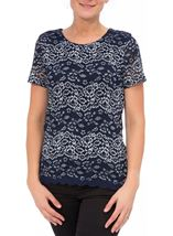 Anna Rose Short Sleeve Corded Lace Top Navy/Silver - Gallery Image 2