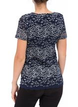 Anna Rose Short Sleeve Corded Lace Top Navy/Silver - Gallery Image 3