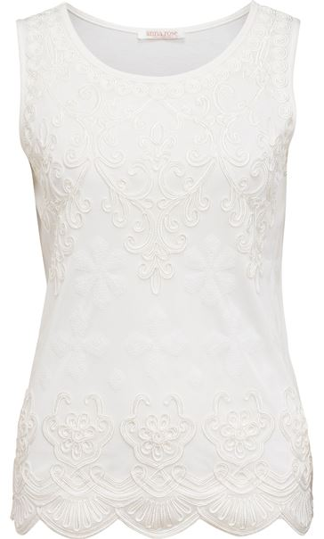 Anna Rose Tape Work Sleeveless Top White