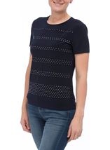 Anna Rose Embellished Short Sleeve Top Navy - Gallery Image 1