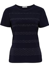 Anna Rose Embellished Short Sleeve Top Navy - Gallery Image 4