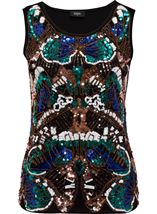 Embellished Sleeveless Top Blue/Green - Gallery Image 1