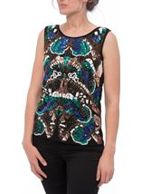 Embellished Sleeveless Top Blue/Green - Gallery Image 2