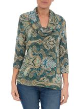 Paisley Printed Cowl Neck Top Emerald Multi - Gallery Image 1