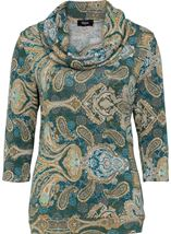 Paisley Printed Cowl Neck Top Emerald Multi - Gallery Image 2