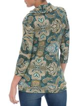 Paisley Printed Cowl Neck Top Emerald Multi - Gallery Image 3