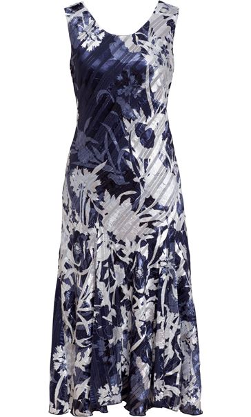 Anna Rose Bias Cut Sleeveless Midi Dress Navy/White