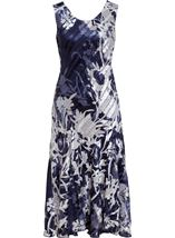 Anna Rose Bias Cut Sleeveless Midi Dress Navy/White - Gallery Image 1