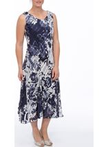 Anna Rose Bias Cut Sleeveless Midi Dress Navy/White - Gallery Image 2