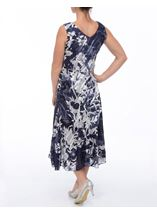 Anna Rose Bias Cut Sleeveless Midi Dress Navy/White - Gallery Image 3