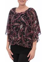 Paisley Printed Chiffon And Jersey Kimono Top Black/Pink - Gallery Image 1