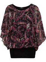 Paisley Printed Chiffon And Jersey Kimono Top Black/Pink - Gallery Image 2