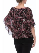 Paisley Printed Chiffon And Jersey Kimono Top Black/Pink - Gallery Image 3