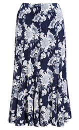 Anna Rose Floral Panel Midi Skirt Navy/White - Gallery Image 1