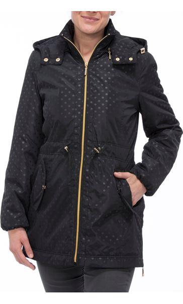 Spot Print Zip Coat Black