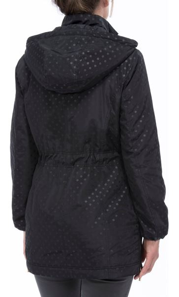 Spot Print Zip Coat Black - Gallery Image 2