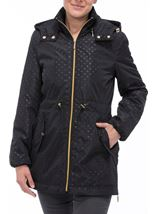 Spot Print Zip Coat Black - Gallery Image 1
