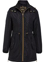 Spot Print Zip Coat Black - Gallery Image 3