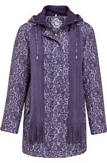Anna Rose Lace Print Scarf Coat