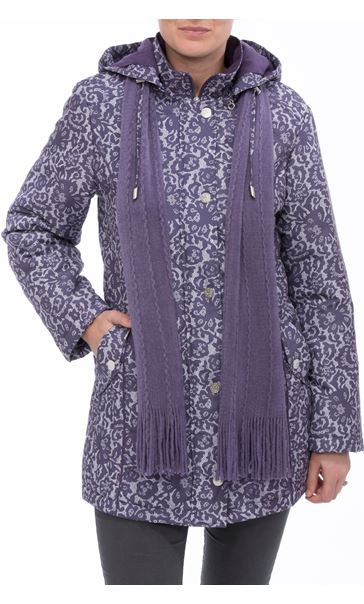 Anna Rose Lace Print Scarf Coat Purple - Gallery Image 2