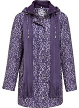 Anna Rose Lace Print Scarf Coat Purple - Gallery Image 1