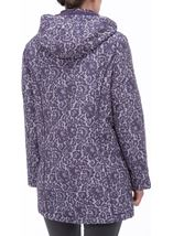Anna Rose Lace Print Scarf Coat Purple - Gallery Image 3