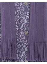 Anna Rose Lace Print Scarf Coat Purple - Gallery Image 4