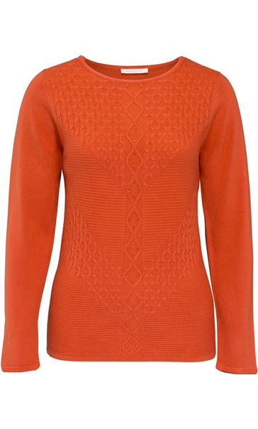 Anna Rose Cable Detail Knit Top Sunset