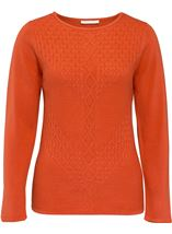 Anna Rose Cable Detail Knit Top Sunset - Gallery Image 1