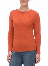 Anna Rose Cable Detail Knit Top Sunset - Gallery Image 2