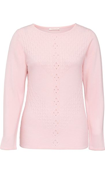 Anna Rose Cable Detail Knit Top Pale Pink