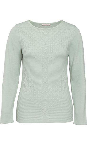 Anna Rose Cable Detail Knit Top Mint