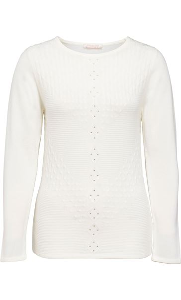 Anna Rose Cable Detail Knit Top Ivory