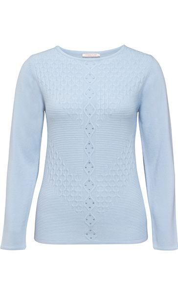 Anna Rose Cable Detail Knit Top Sky