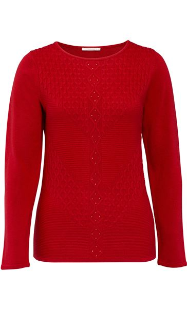 Anna Rose Cable Detail Knit Top Ruby